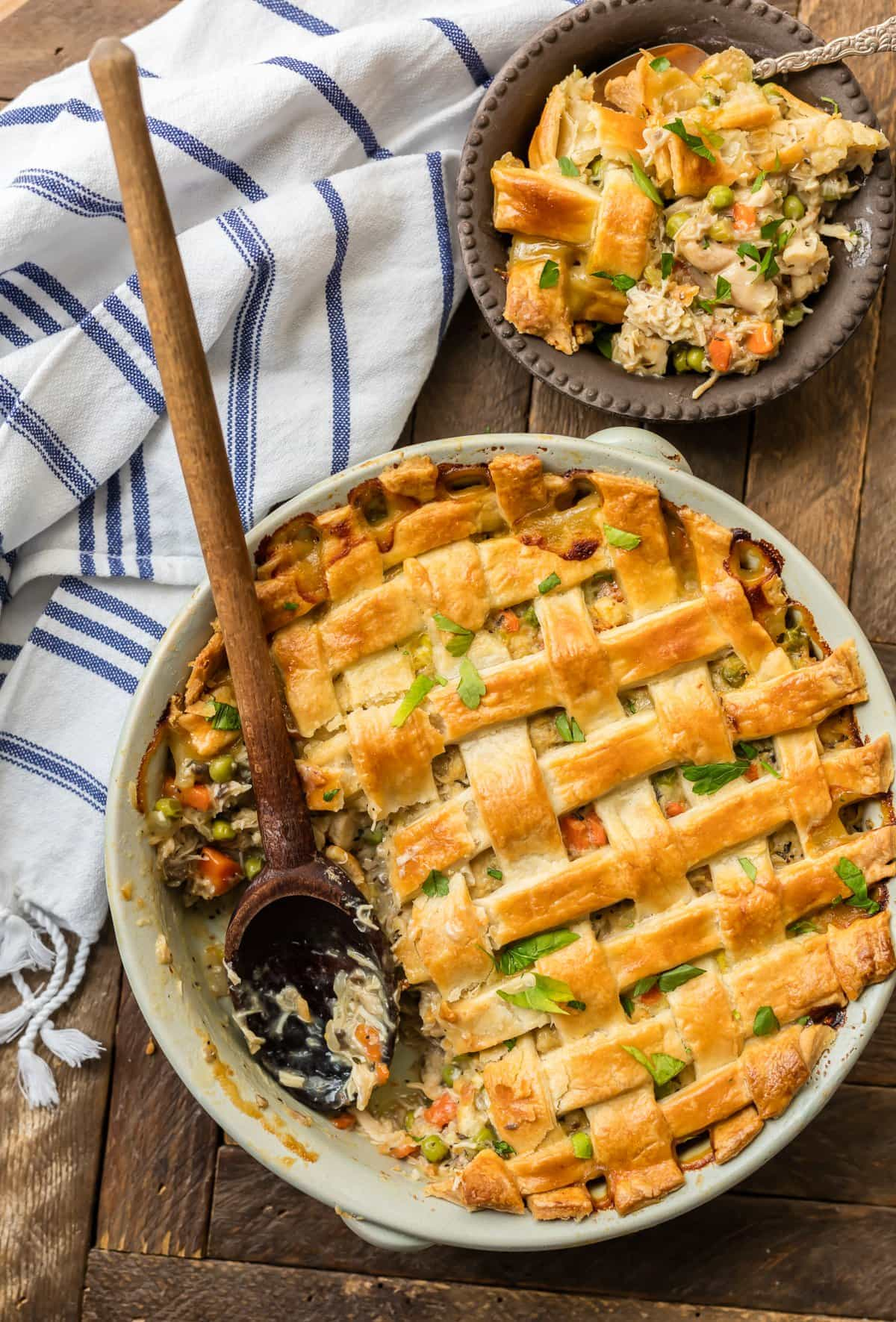 Chicken Pot Pie Casserole in a serving dish