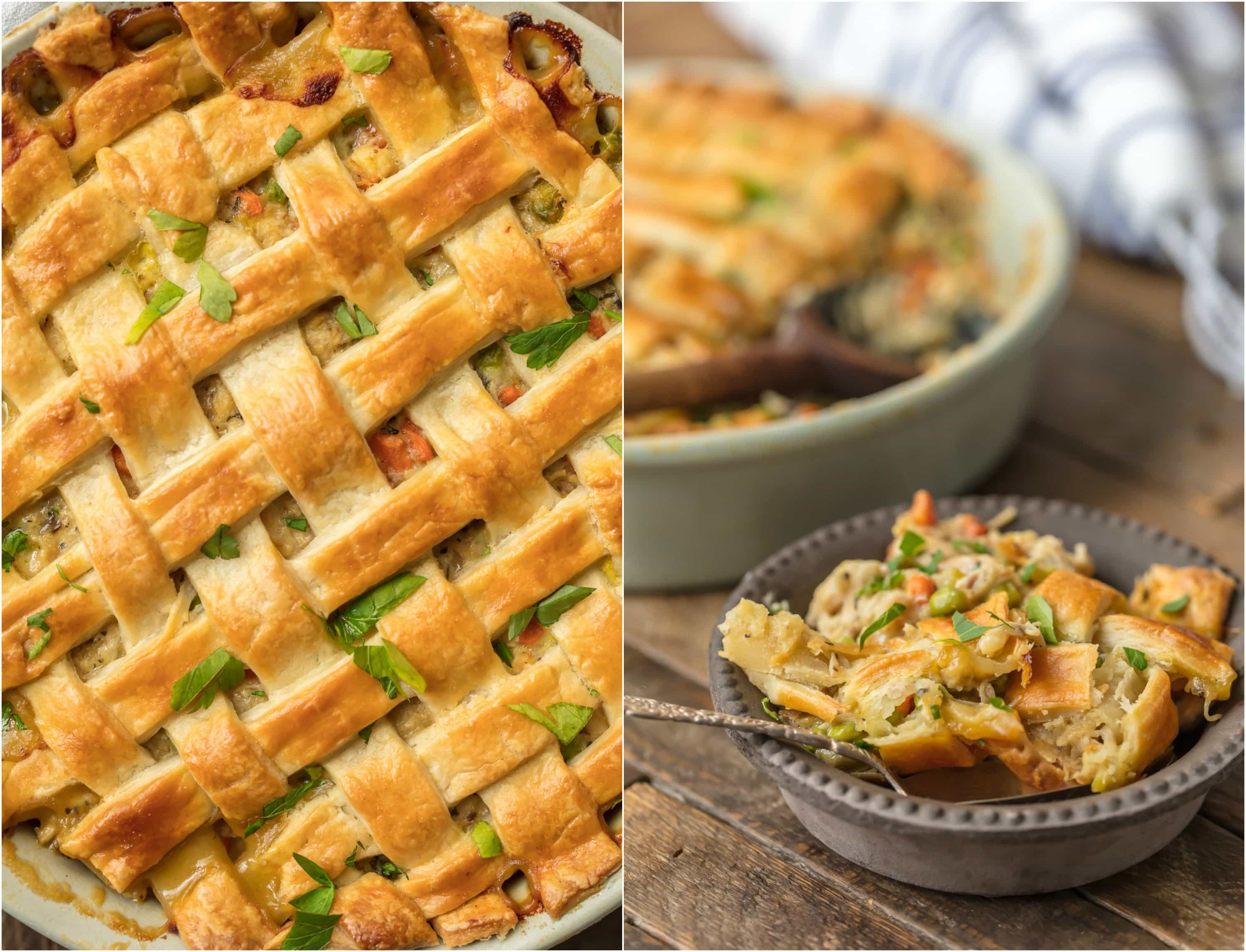 This crazy good CHICKEN POT PIE CASSEROLE is the ultimate easy comfort food! This AMAZING pot pie is loaded with carrots, peas, chicken, and topped with flakey pie crust. OBSESSED.