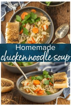 HOMEMADE CHICKEN NOODLE SOUP is the ultimate comfort food! This easy chicken noodle soup recipe is made right in your kitchen, and it tastes like home. Learning how to make chicken noodle soup is simple!