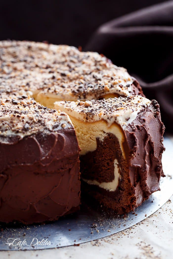 Chocolate Peanut Butter Cheesecake Cake | Cafe Delites