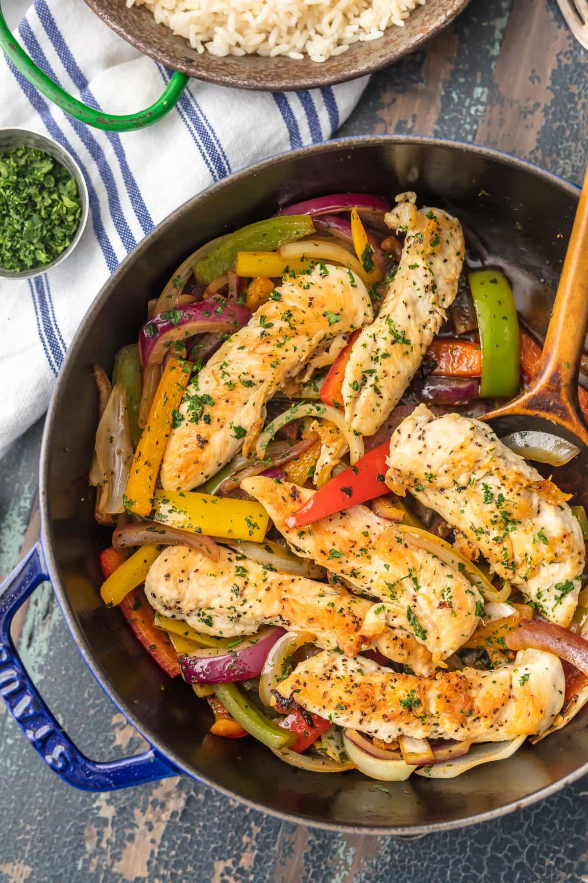 Chicken stir fry in a skillet