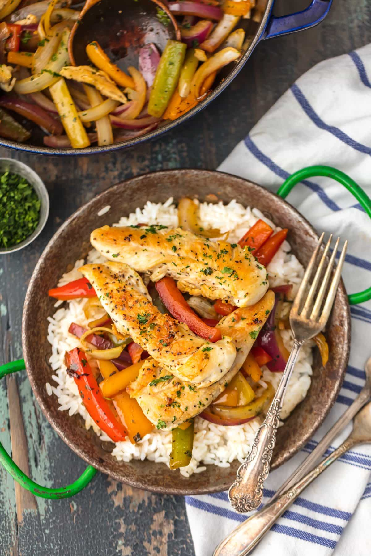 This CILANTRO CHICKEN STIR-FRY is an easy, delicious, and HEALTHY dinner you can make in just minutes! So much flavor and none of the fuss. Loaded with chicken, peppers, onions, and cilantro...yum!