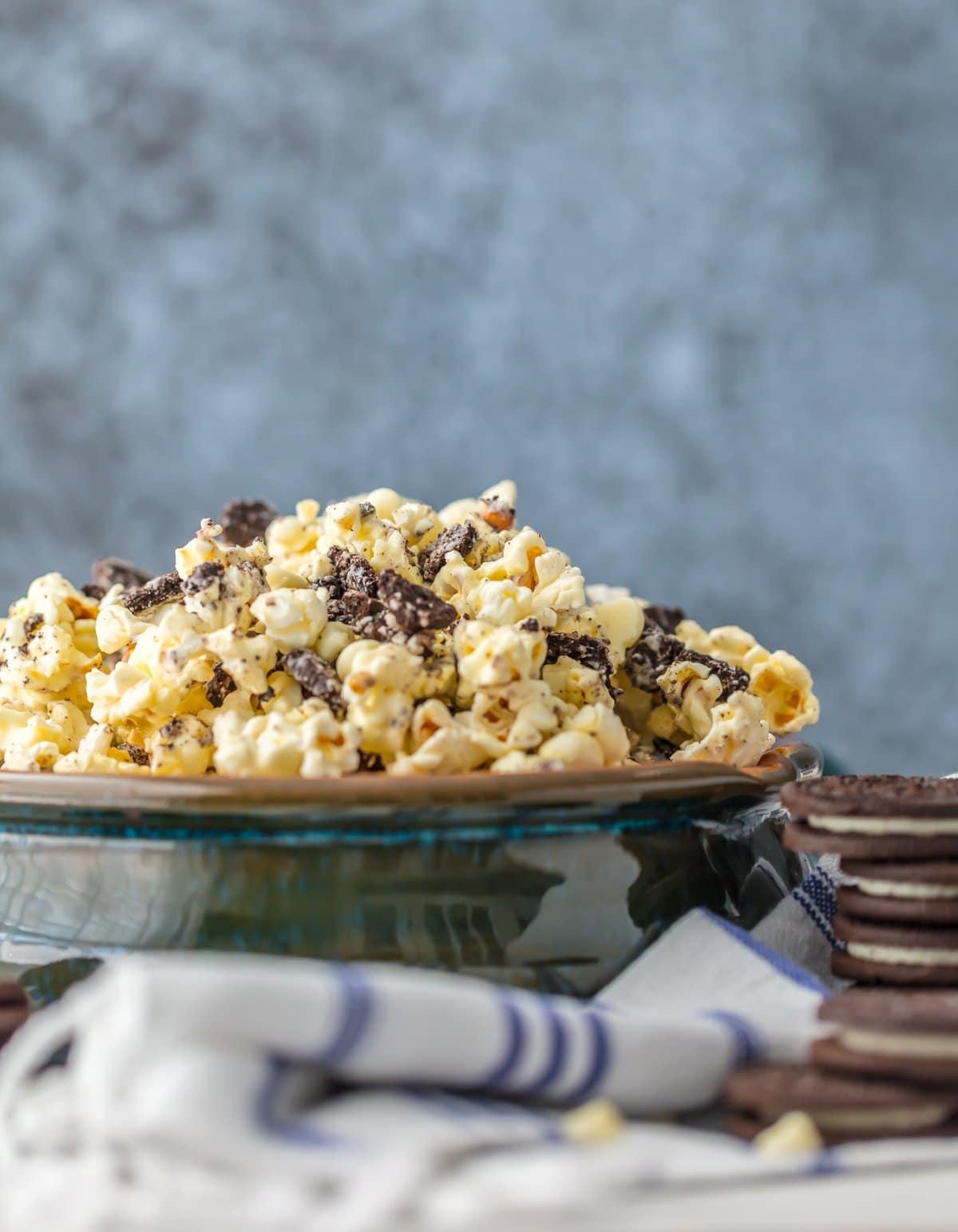 A bowl of white chocolate Oreo popcorn