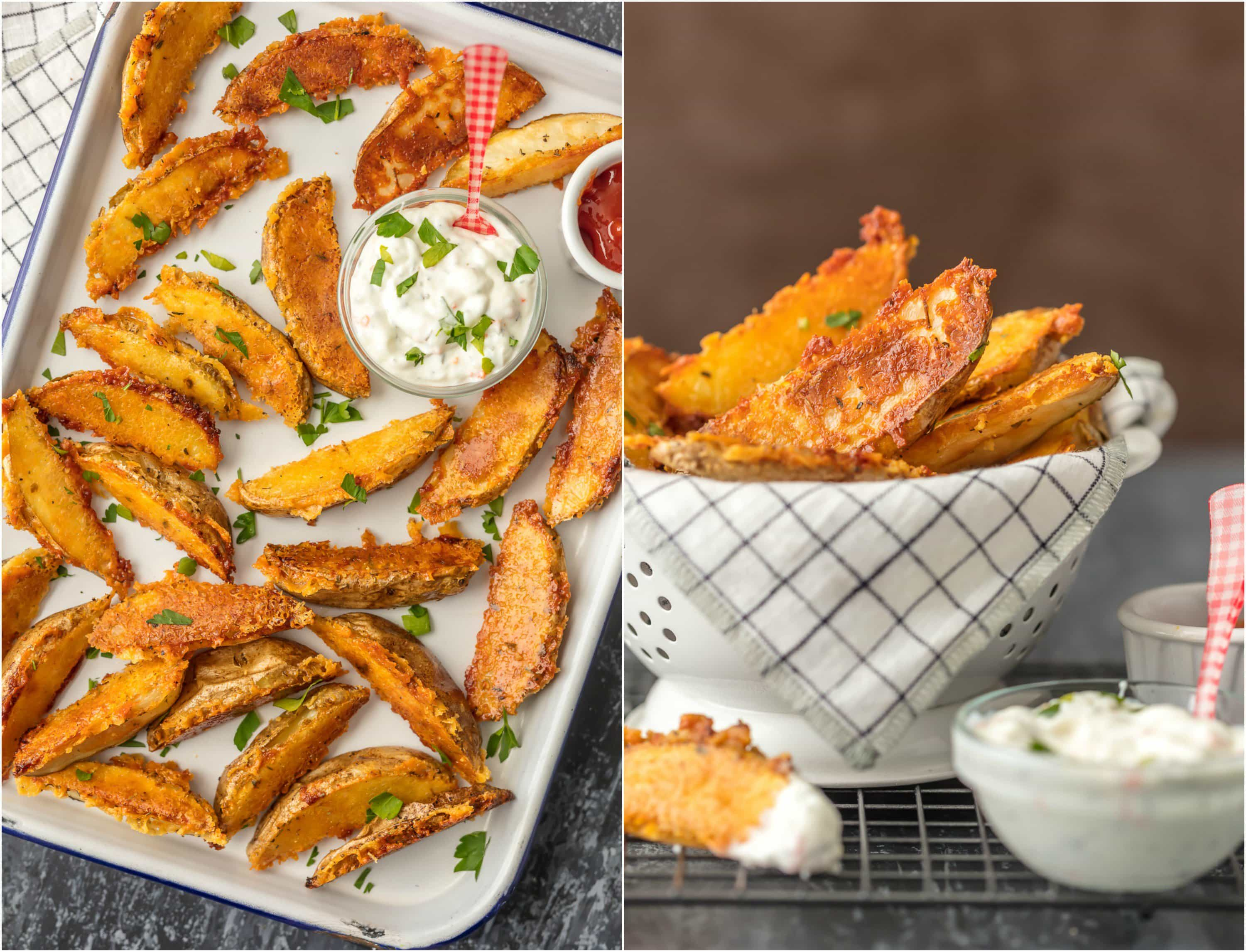 These CRISPY PARMESAN POTATO WEDGES are so absolutely delicious and EASY! You'll never go back to regular fries after you try these thick baked potato wedges coated in a crispy cheese shell. Just too good!
