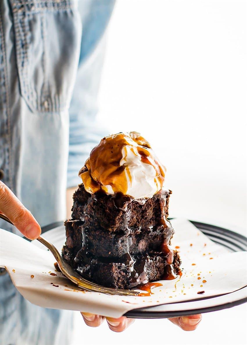 One Bowl Vegan Dark Chocolate Salted Caramel Brownies | Cotter Crunch