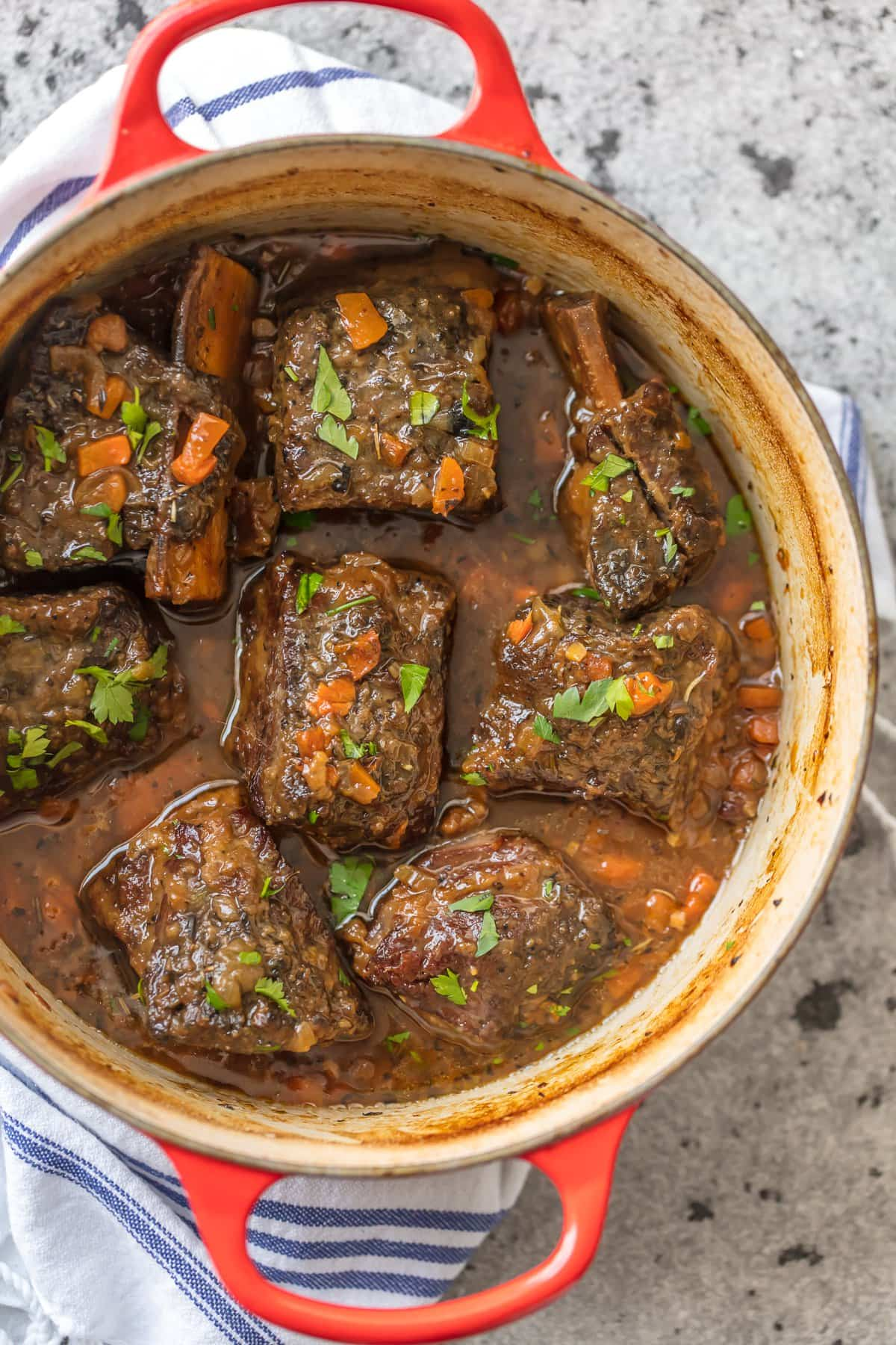 Honey Bourbon Short Ribs Dutch Oven recipe