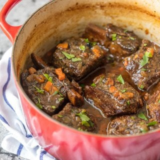 We love these DUTCH OVEN HONEY BOURBON SHORT RIBS! It's so easy to make these flavorful and fall off the bone ribs right in your dutch oven. Less cleanup and more flavor!