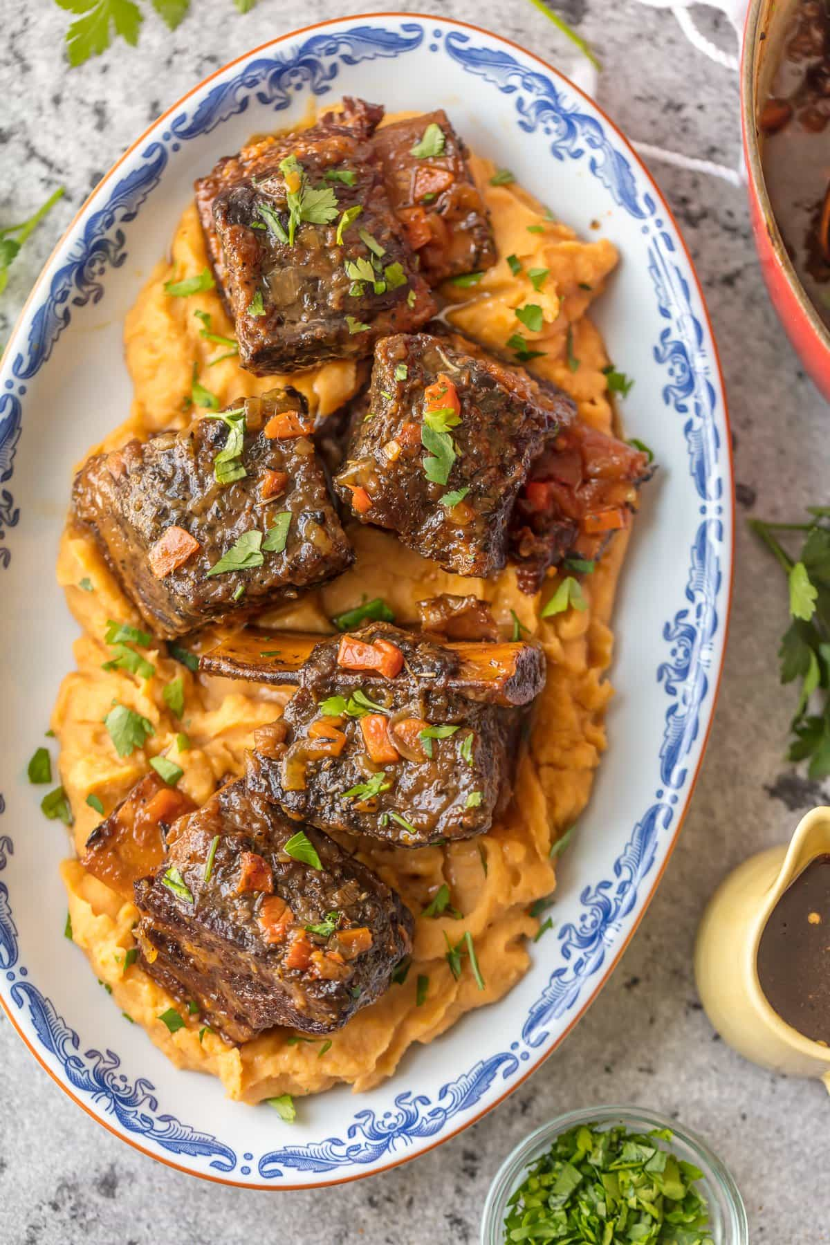 This Short Ribs Recipe (Honey Bourbon Dutch Oven Short Ribs) has quickly become one of our favorite dutch oven recipes! They're so tender and flavorful with this honey bourbon sauce.
