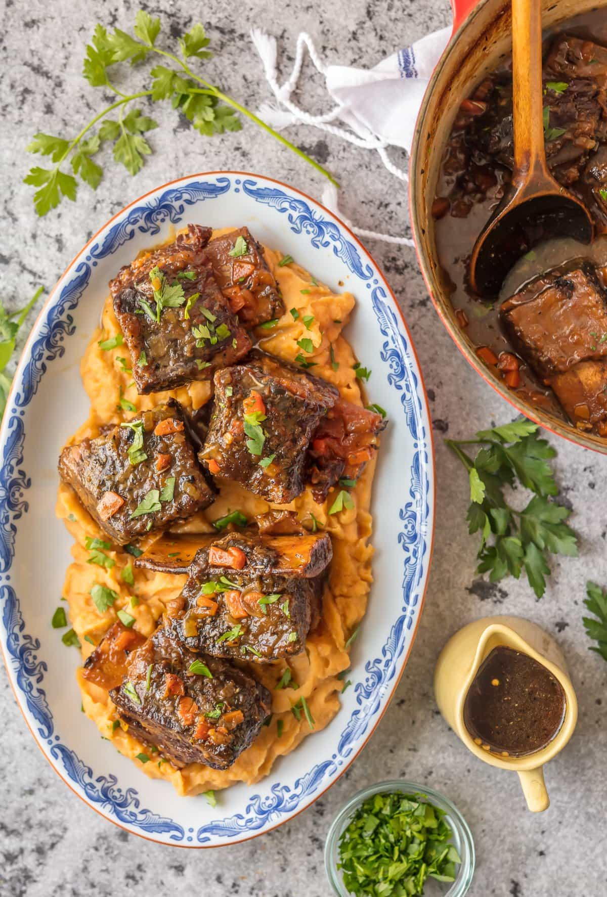 Short Ribs Recipe plated with mashed sweet potatoes