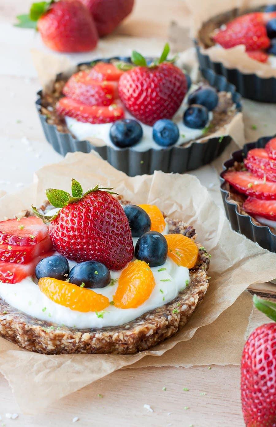 No Bake Coconut Lime Fruit Yogurt Tarts | Peas and Crayons