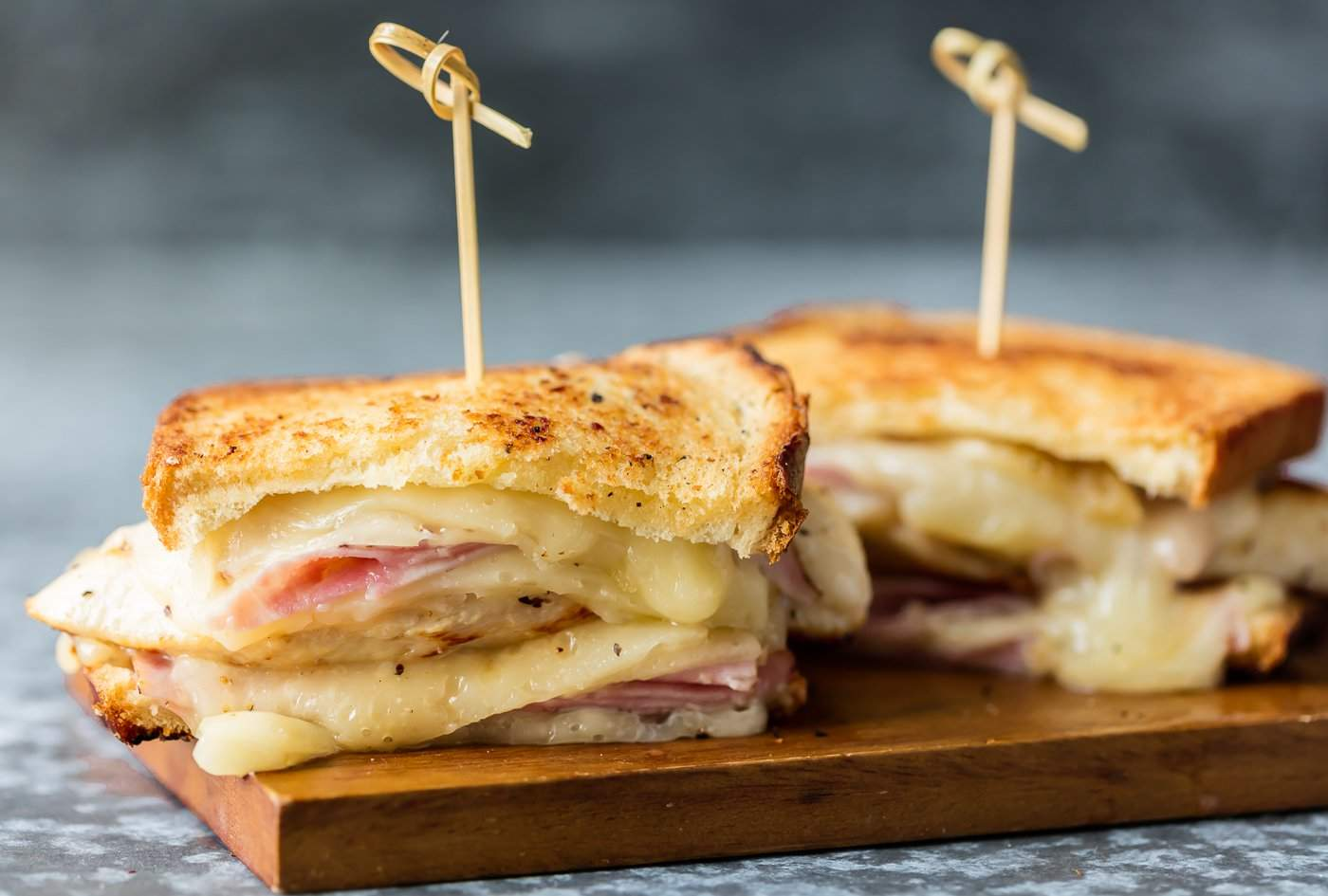 Grilled cheese with chicken and ham