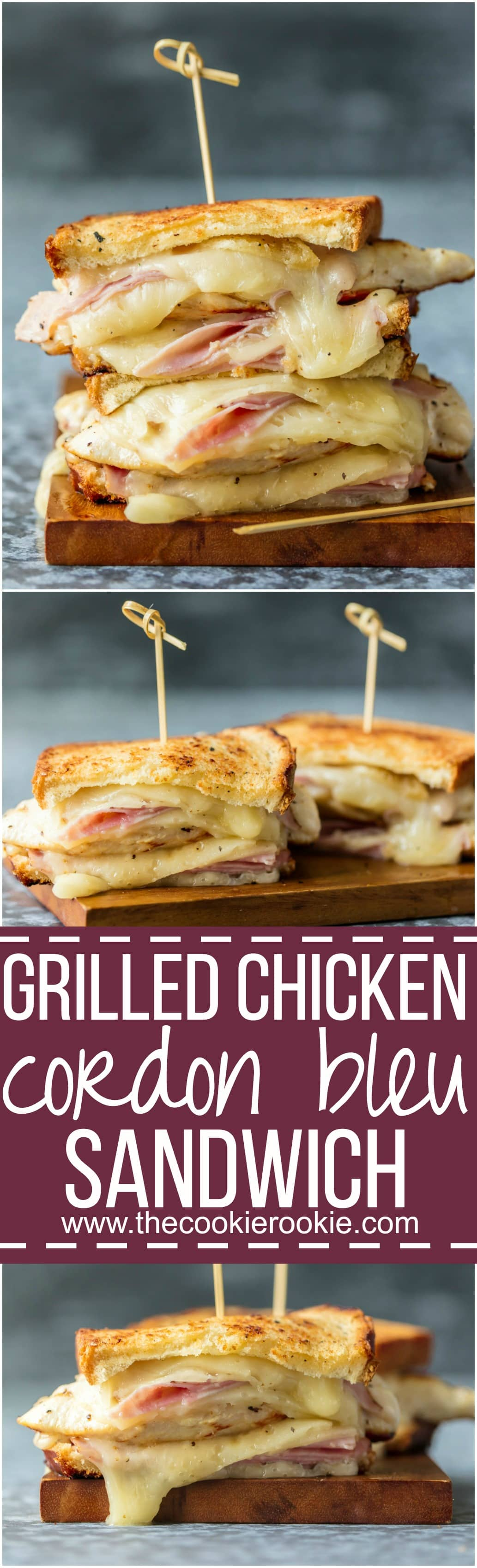 This GRILLED CHICKEN CORDON BLEU SANDWICH is so easy and so full of flavor! Kick your sandwich game up a notch with layers of grilled chicken, creamy swiss, honey ham, and buttered bread.