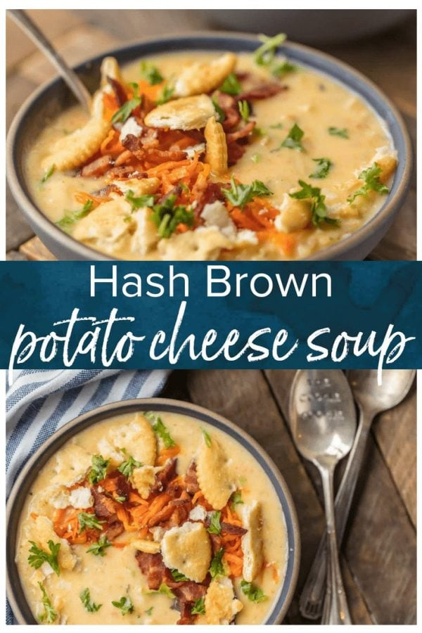 This HASH BROWN POTATO CHEESE SOUP is an absolute Winter MUST MAKE! The ultimate comfort food soup made in minutes. So cheesy and delicious. Topped with sauteed carrots and bacon for extra flavor!