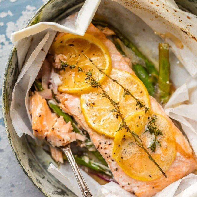 lemon butter salmon with a fork full of salmon