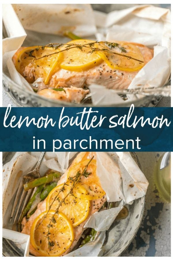 This LEMON BUTTER SALMON IN PARCHMENT PAPER is our favorite way to cook a healthy and delicious seafood meal at home! Asparagus and onion topped with succulent salmon, lemons, and thyme, and drizzled in lemon butter. SO EASY and amazingly good!