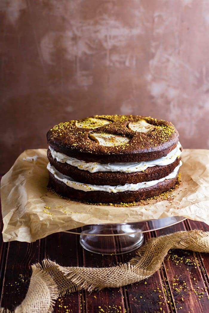 Flourless Chocolate Pistachio Pear Naked Cake | Cotter Crunch