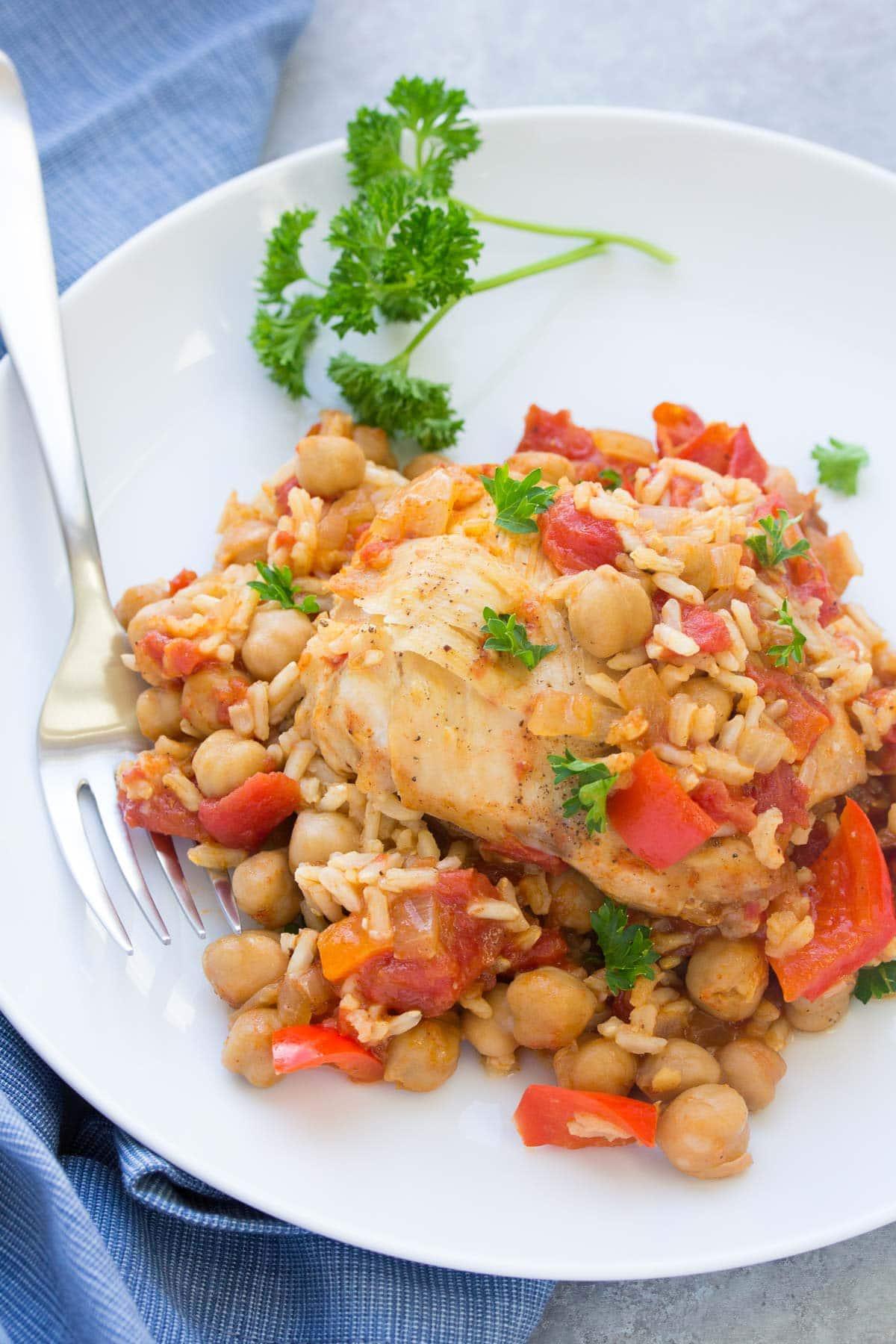 One Pot Spanish Chickpea Chicken | Kristine's Kitchen
