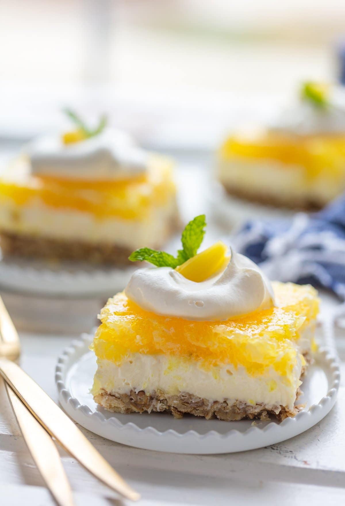Pretzel salad with pineapple