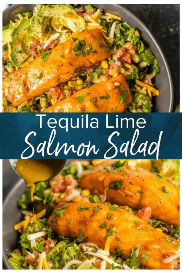 This TEQUILA LIME SALMON SALAD is the perfect hearty and delicious salad for any occasion! Salmon topped with a spicy tequila lime marinade and laid atop a bed of lettuce, corn, beans, avocado, pico, and more!