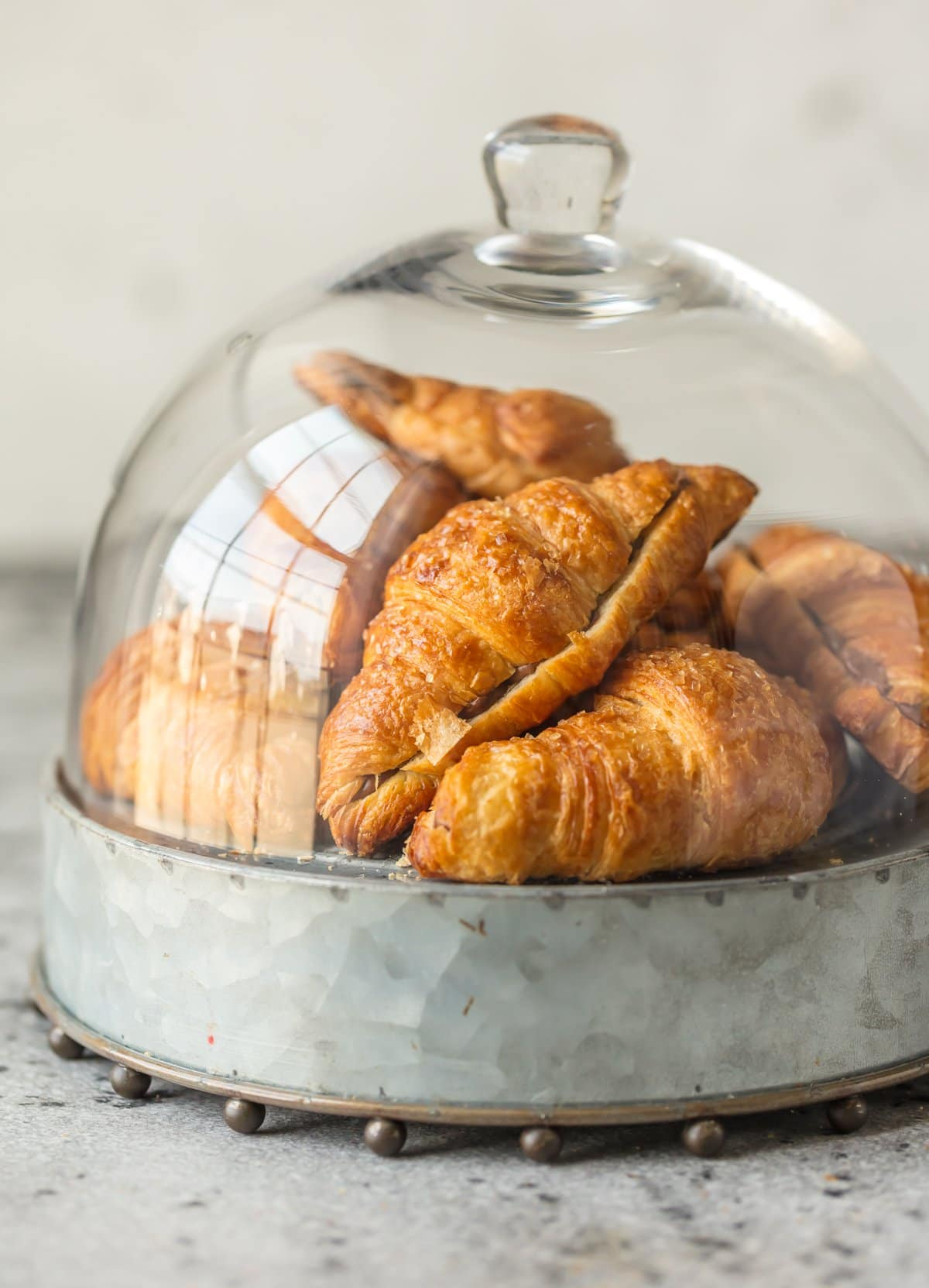 Chocolate croissants in a glass case