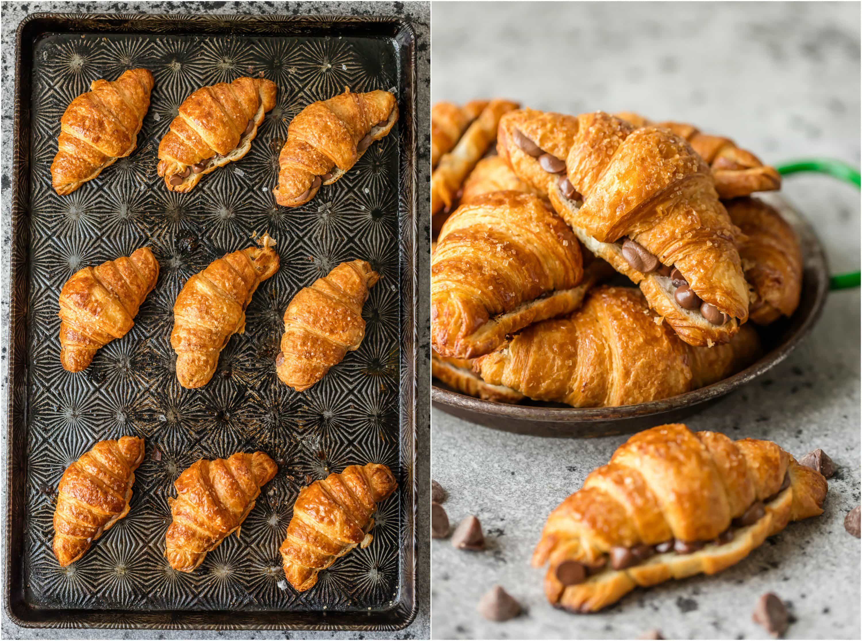 Chocolate croissant recipes on a baking tray