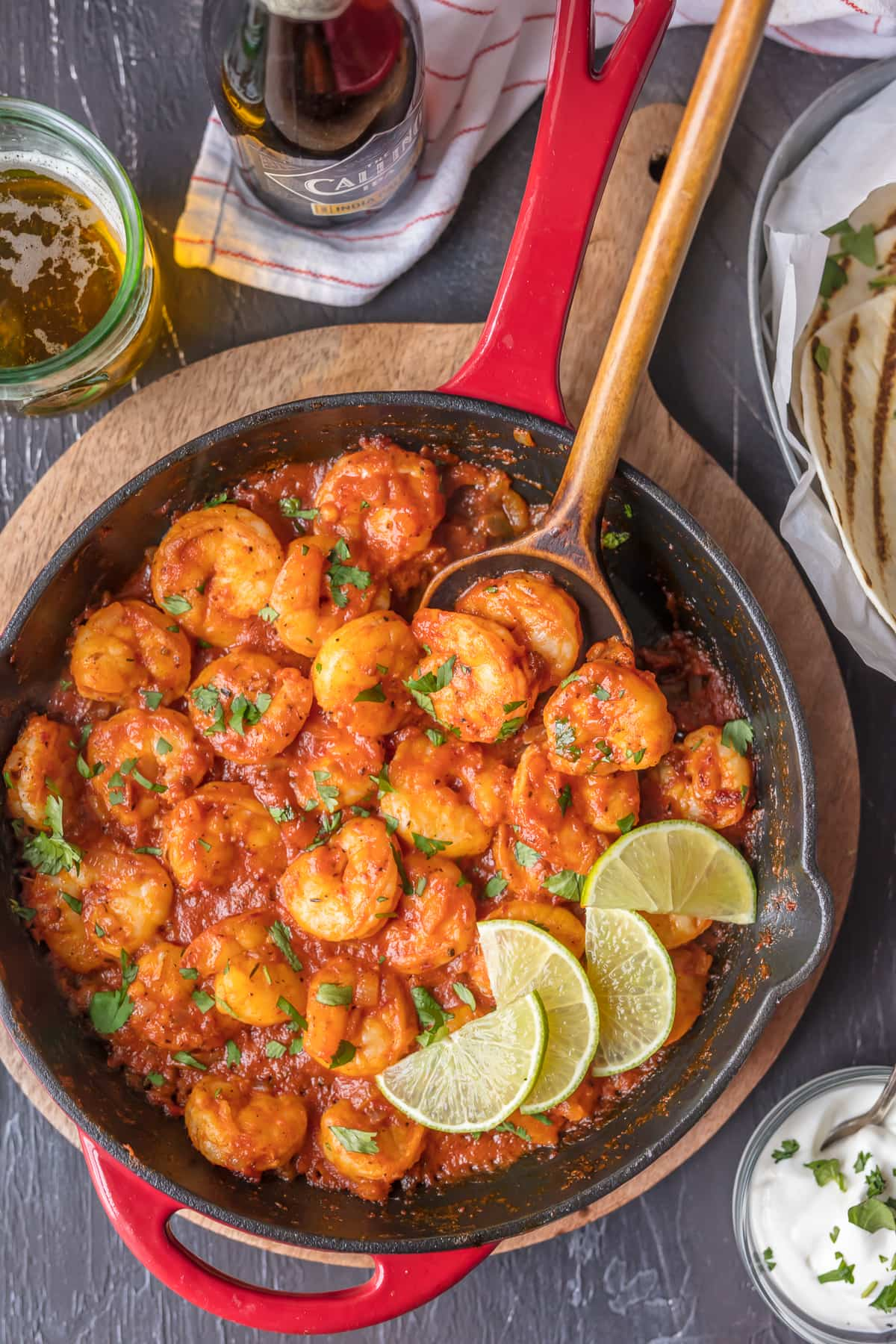 This SKILLET CHIPOTLE SHRIMP is our favorite easy shrimp recipe! Smokey, spicy, and so flavorful! This chipotle shrimp is perfect over pasta or rice for a simple and healthy dinner at home.