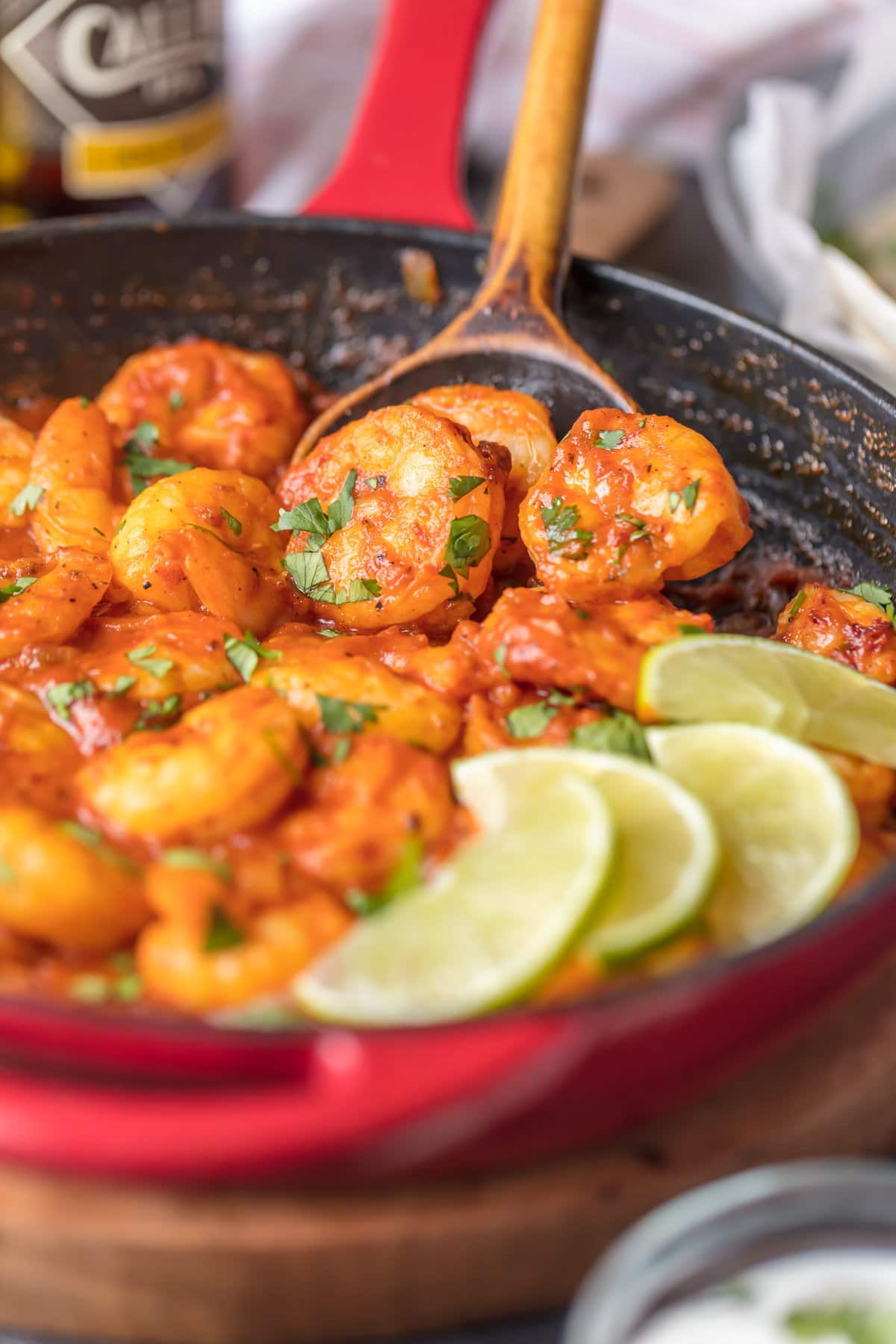 Spicy shrimp recipe made in a skillet
