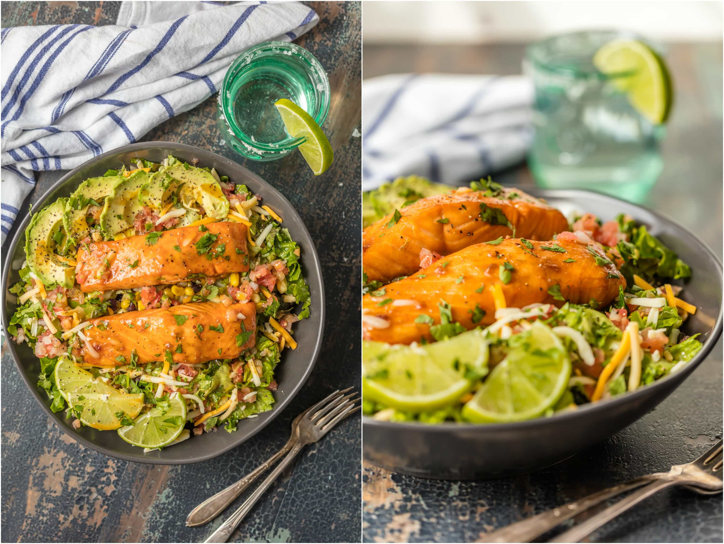This TEQUILA LIME SALMON SALAD is the perfect hearty and delicious salad for any occasion! Salmon topped with a spicy tequila lime marinade and laid atop a bed of lettuce, corn, beans, avocado, pico, and more! SO MUCH FLAVOR!