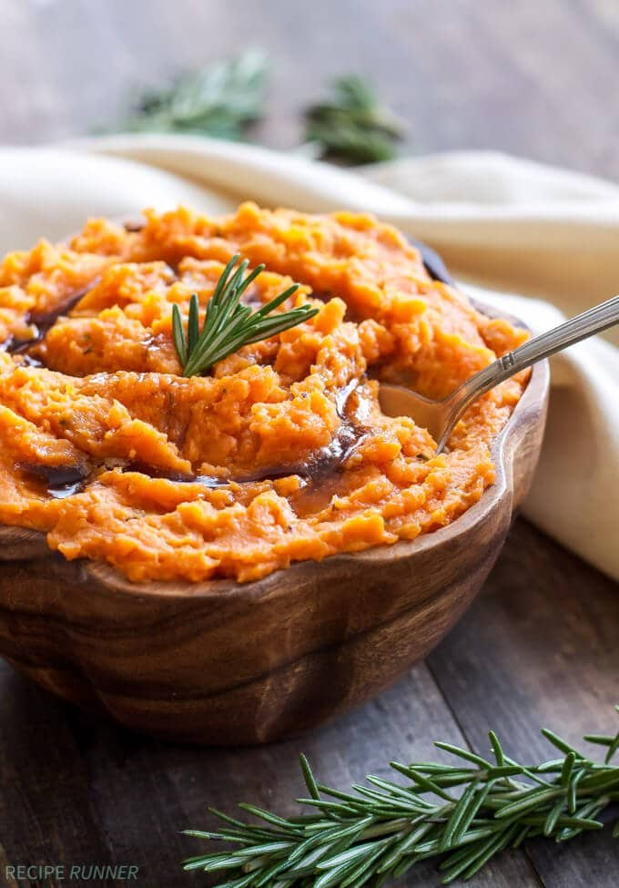 Brown Butter Rosemary Mashed Sweet Potatoes | Spoonful of Flavor