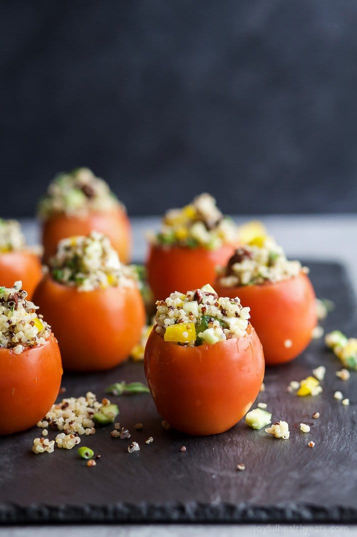 Mediterranean Quinoa Stuffed Tomatoes | Joyful Healthy Eats