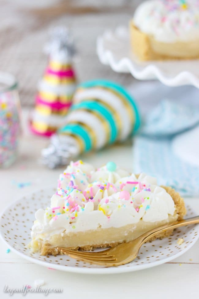 No Bake Funfetti Pudding Pie | Beyond Frosting