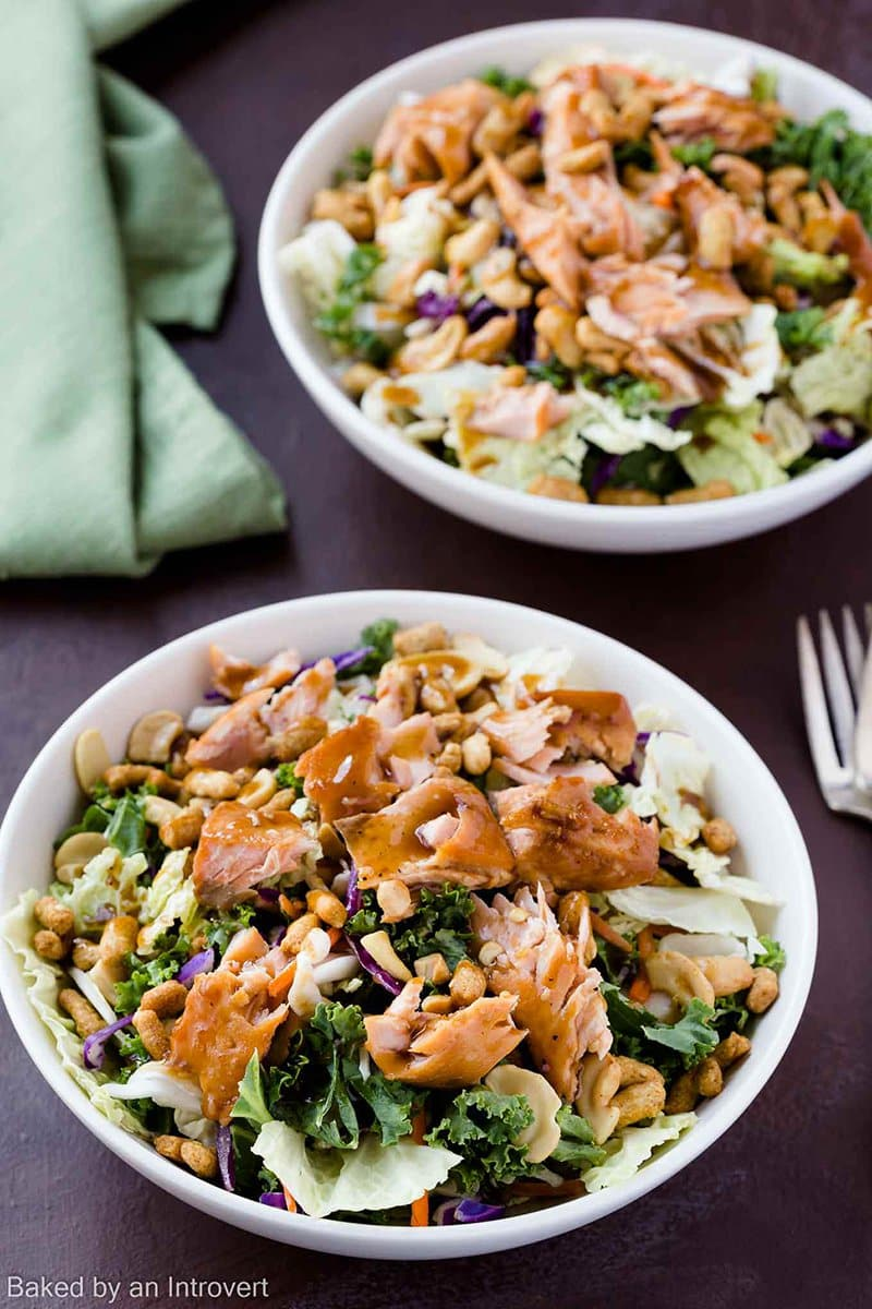 Sesame Ginger Salmon Salad | Baked by an Introvert