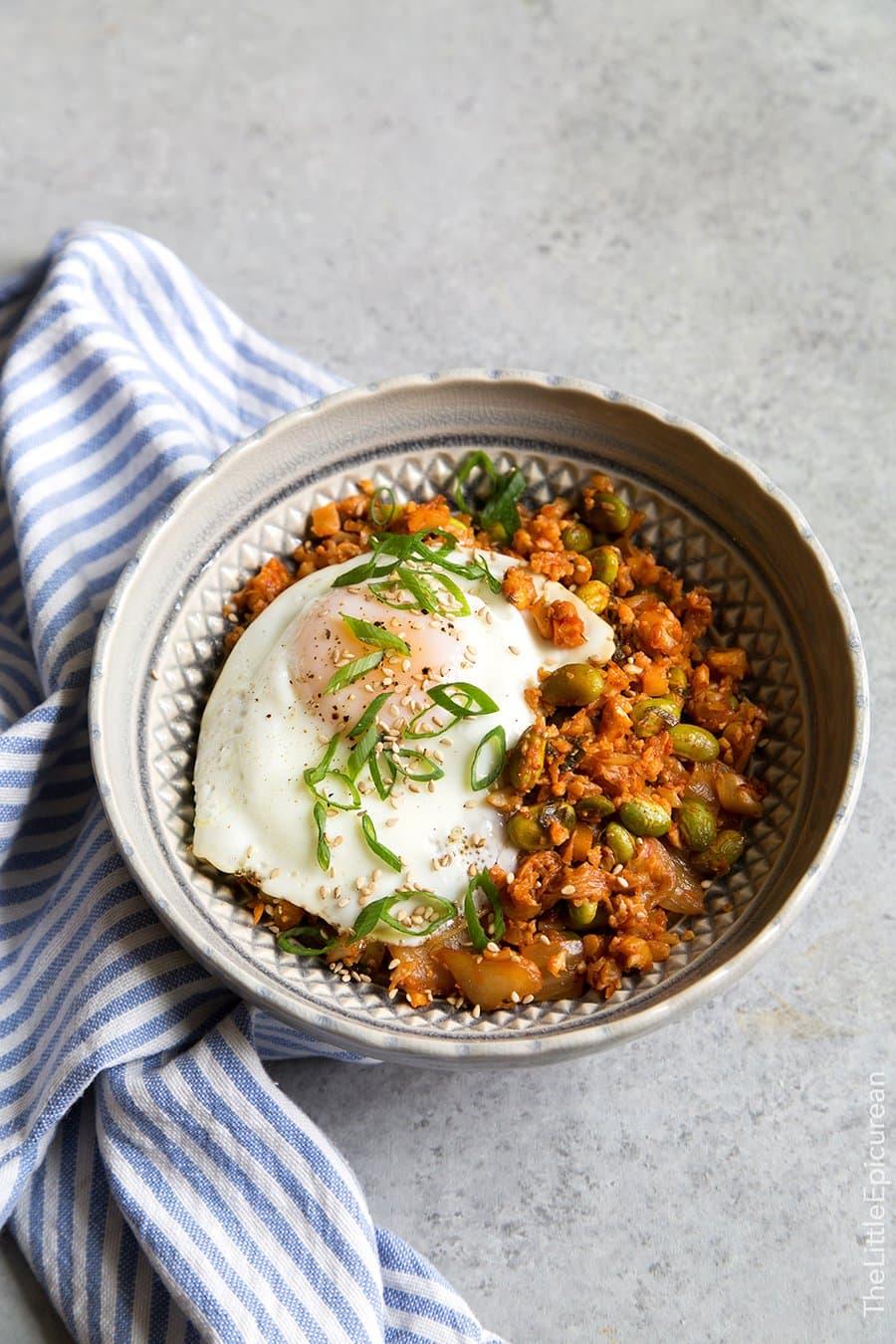 Baked Kimchi Cauliflower Rice | The Little Epicurean