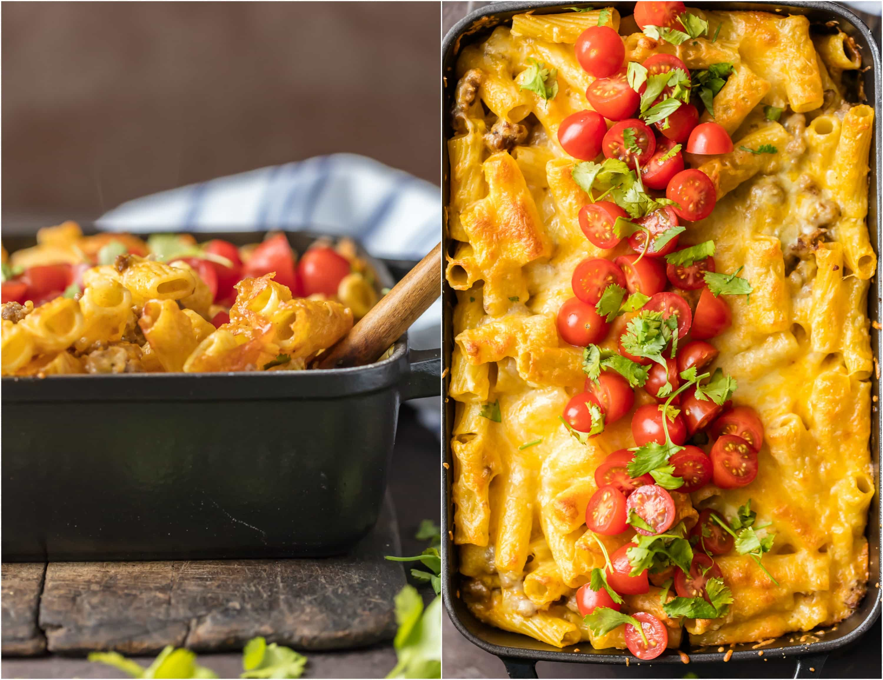 This BAKED MEXICAN MACARONI AND CHEESE can't be beat! No need to fool with a tricky cheese sauce when you have this secret ingredient making things extra creamy and delicious! Spicy sausage, green chiles, macaroni and cheese!