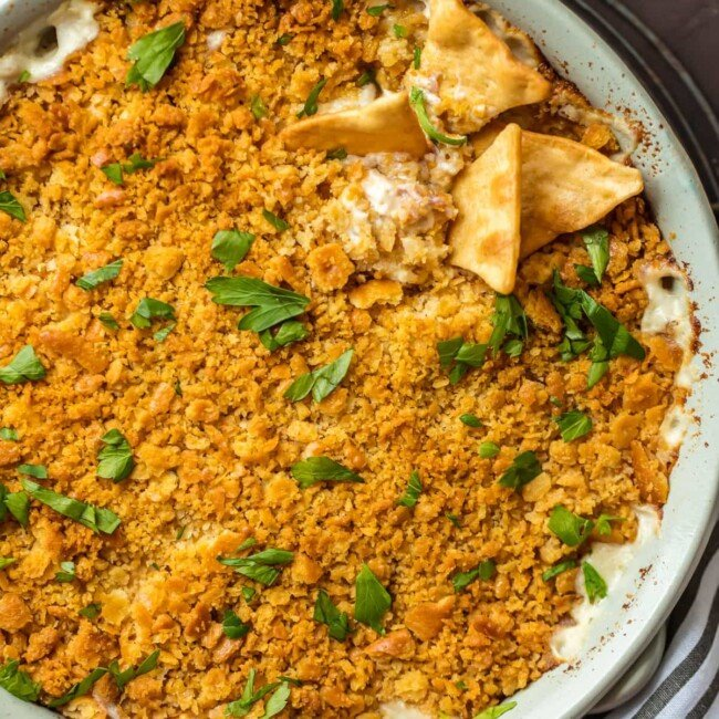 chicken cordon bleu dip in baking dish