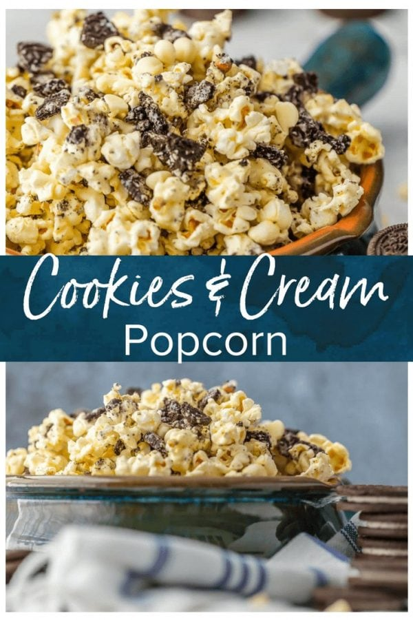 COOKIES AND CREAM POPCORN is SO easy and delicious! This Oreo White Chocolate Popcorn is perfect for a night in while binge-watching your favorite series on Netflix.