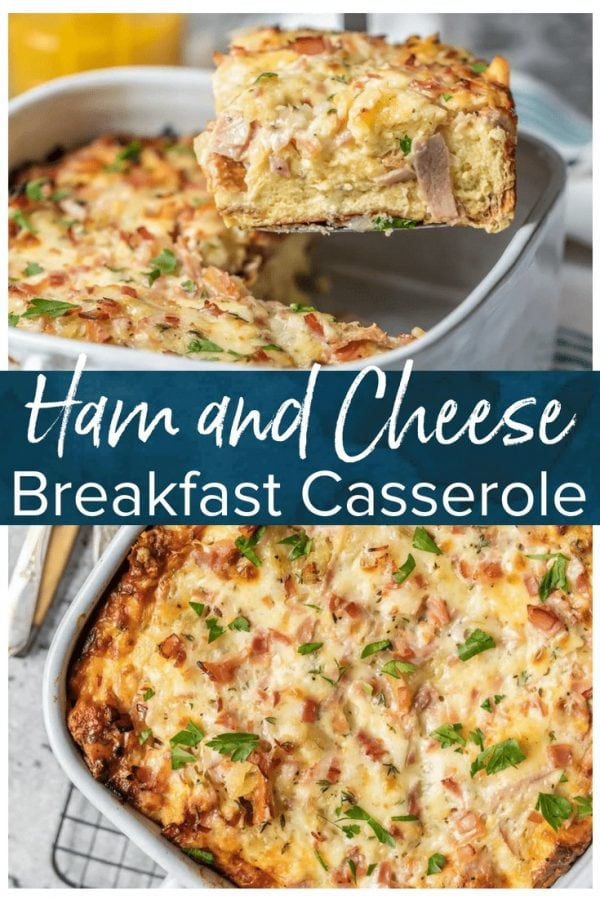 This HAM AND CHEESE BREAKFAST CASSEROLE is our favorite make ahead breakfast for any special occasion. This breakfast casserole with ham, cheese, bread, eggs, herbs, and more is sure to please everyone and just so easy to make!