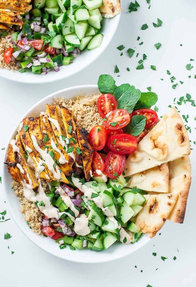 Healthy Chicken Shawarma Veggie Quinoa Bowls | Peas and Crayons