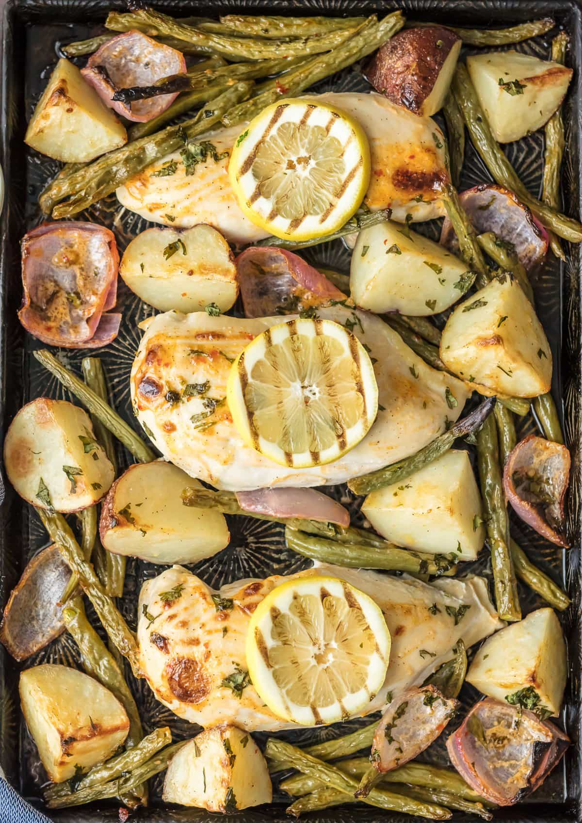 Chili Lime Ranch Chicken, green beans, potatoes, & red onions on one sheet pan