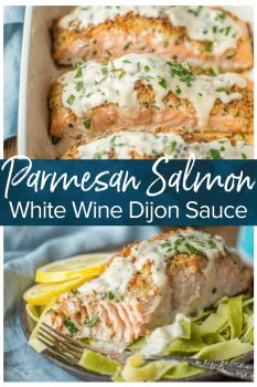 PARMESAN CRUSTED SALMON is our very favorite way to enjoy seafood! I love making salmon because it's delicious AND good for you. This White Wine Dijon Salmon is coated with a crispy garlic Parmesan crust and drenched in an amazing white wine sauce.