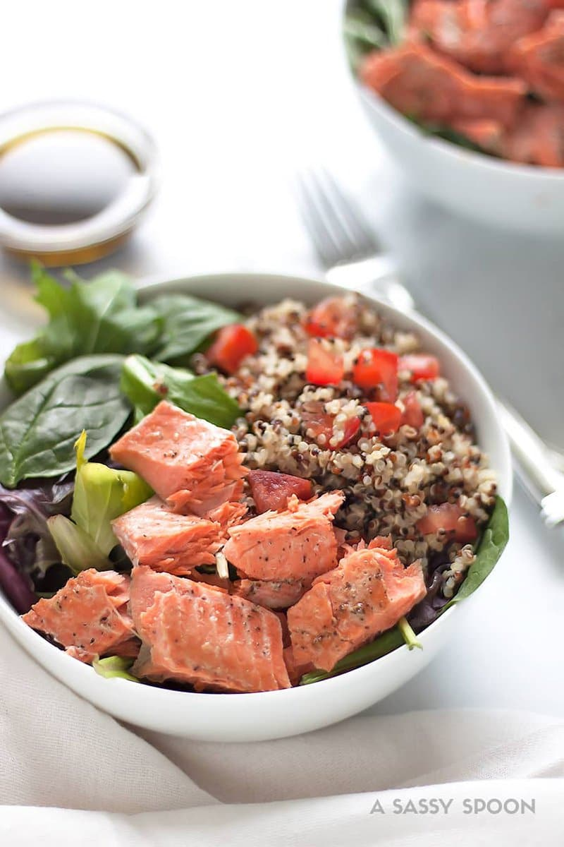 Salmon Quinoa Salad with Balsamic Olive Oil Dressing | A Sassy Spoon