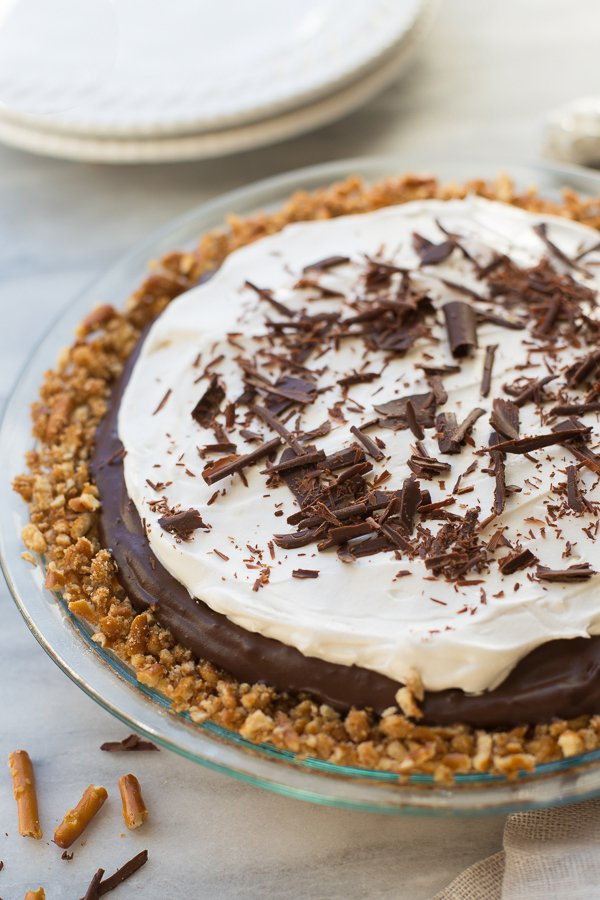 Gluten-Free Vegan Chocolate Pudding Pretzel Pie | Meaningful Eats