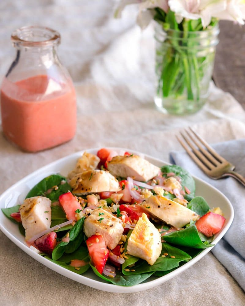 Spinach Salad with Grilled Chicken and Strawberries | Half Her Size