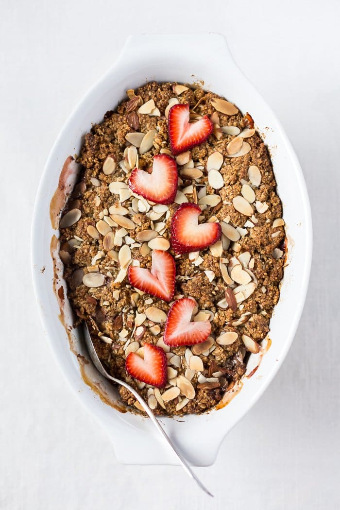 Strawberry and Rhubarb Breakfast Oat Crisp | Foolproof Living