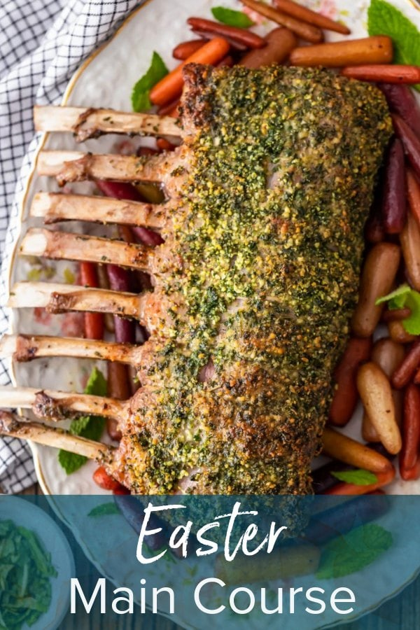 rack of lamb with text overlay: easter main course