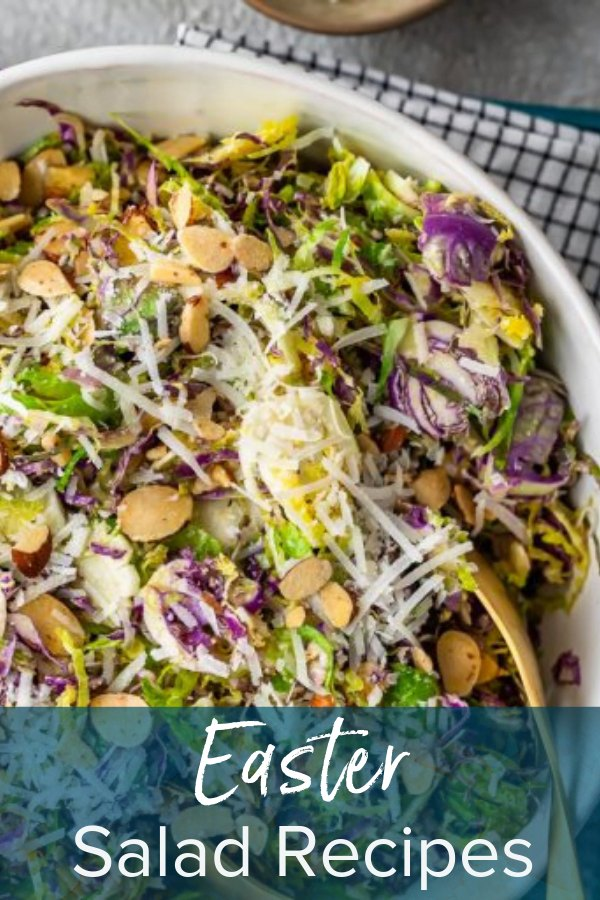 salad in a large bowl with text overlay: easter salad recipes