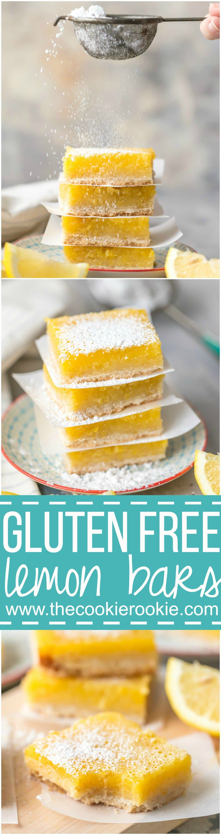 These GLUTEN FREE LEMON BARS are the easiest and best lemon bar recipe, and they just so happen to be gluten free! SO DELICIOUS! Thick and creamy lemon squares for the win.
