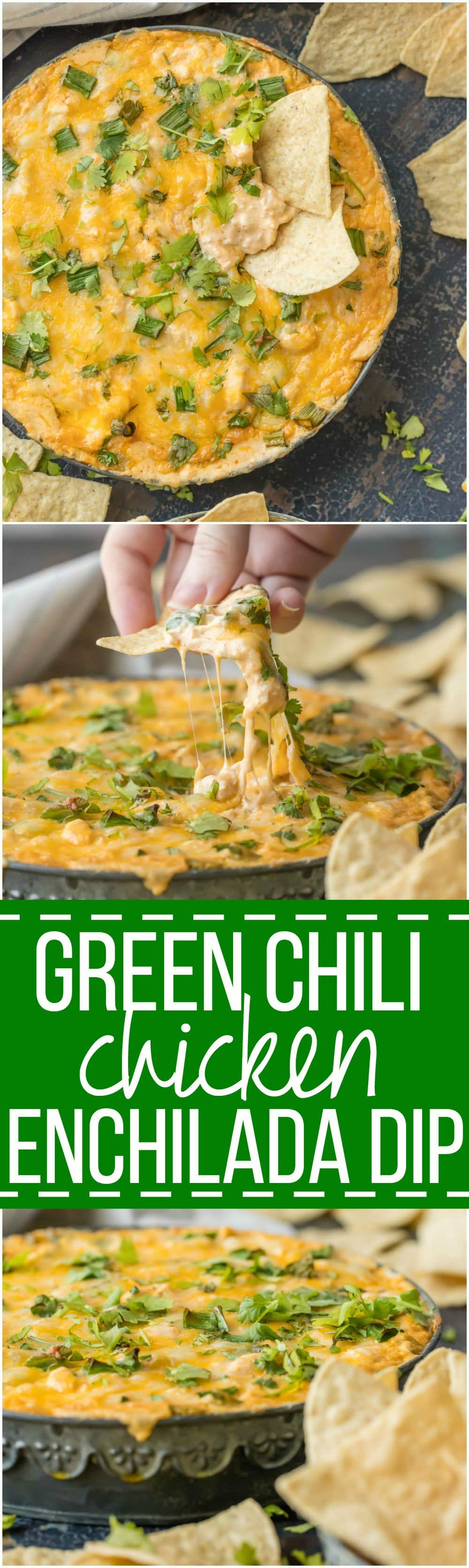 This GREEN CHILE CHICKEN ENCHILADA DIP is the ultimate party food, loaded with chicken, green chiles, cream cheese, sour cream, and so much more. It will be gone in minutes from any get together.