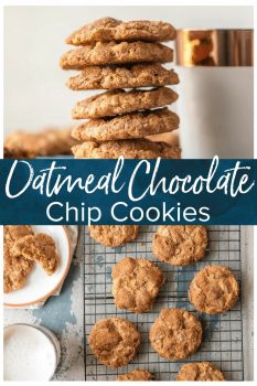 "The BEST OATMEAL CHOCOLATE CHIP COOKIES recipe is crunchy on the outside and chewy on the inside. We call them ""Oatmeal Doozies"" because they are my Mom's master creation!"