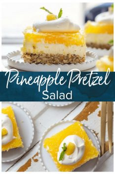 Pineapple Pretzel Salad is our go-to Pretzel Salad Recipe for Easter and Christmas! It is the perfect holiday side dish recipe! Wow your guests with this twist on classic Strawberry Pretzel Salad. This Pineapple Pretzel Salad Recipe is an absolutely delicious flavor combination.